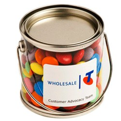 Small PVC Bucket Filled with Choc Beans 170G (Mixed Colours)