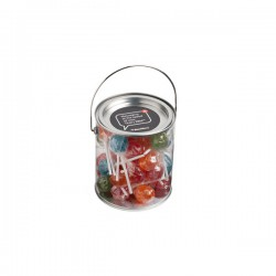 Big PVC Bucket Filled with Ball Lollipops X44 (Mixed Coloured Lollipops)