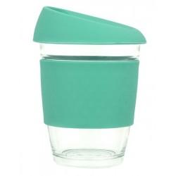 Teal 340ml Reusable Glass Karma Kup with Silicone Band and Lid