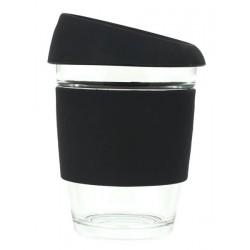 Black 340ml Reusable Glass Karma Kup with Silicone Band and Lid