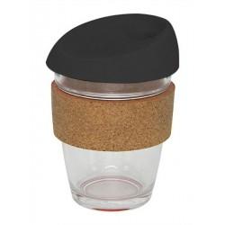 Black 340ml Reusable Glass Karma Kup with Cork Band and Silicone Lid