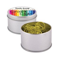 Yellow Light Bulb Paperclips in Silver Round Tin